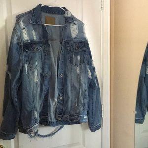 Jackets & Blazers - Distressed Oversize Jean Jacket